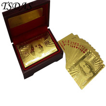 Wholesale 24K Gold Playing Poker Cards, 100 Dollar Decks of Playing Cards with Good Quality Box for Games(China)