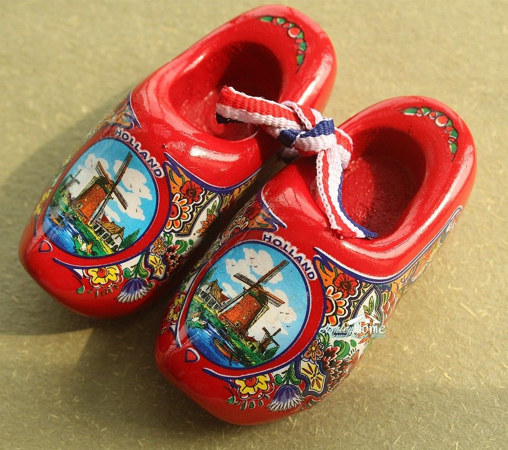 "2.5/"" Netherlands Holland Dutch Wooden Shoes Tourist Souvenir Fridge Magnet PINK"