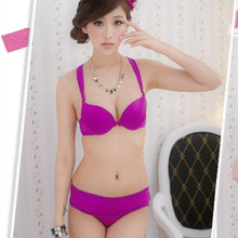 Free shipping new solid color women's underwear push up bra set fashion sexy bikini type of underwear sets Black Yellow Purple