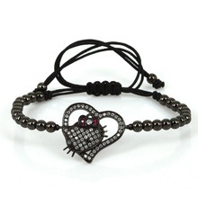 Luxury Fashion Shiny Noble Heart Charm Bracelets Hello Kitty & LOVE & Angle Wings Lovely Jewelry for Women Girls Pulsera Gift