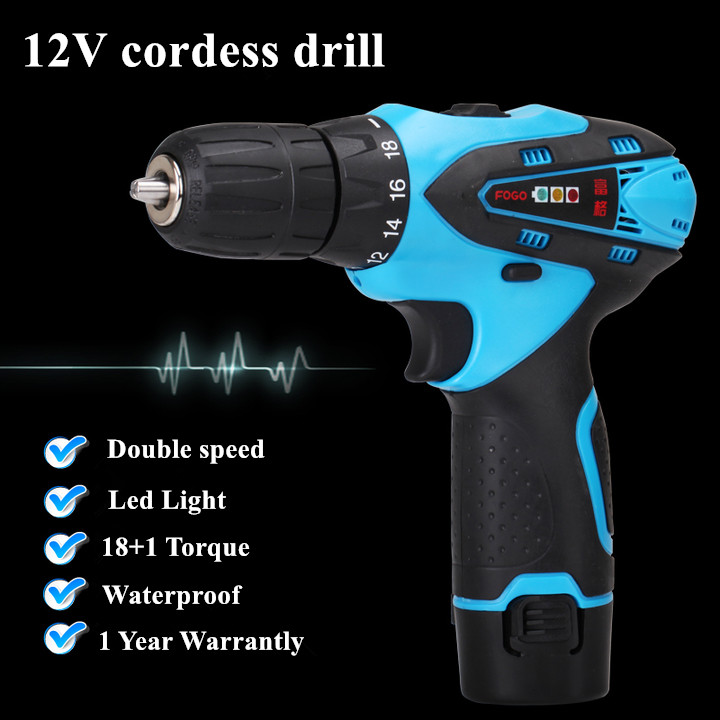 12V Double Speed Waterproof Rechargeable Electric Drill Cordless drill portable drill Screwdriver Tool Set+1*Battery+1*Charger<br>