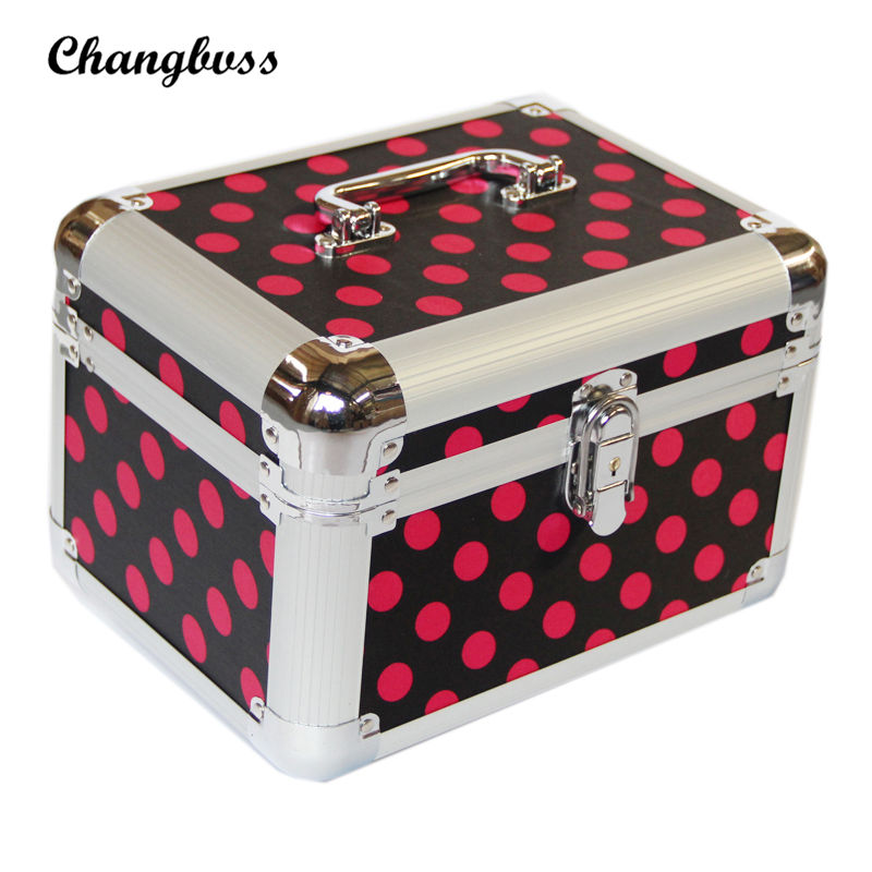 Pink Dots Pattern Cosmetic Bag for Desktop or Travel Organizer Ladies Lockable Jewelry Storage Box Makeup Toiletry bags neceser<br>