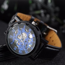 2017 Fashion Casual Men Women Watch Skeleton Hollow Men Mechanical Wristwatches Black Leather Band
