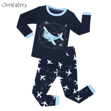 Little Bitty 2017 spring pijamas autumn full sleeve cotton boys sleepwear kids plane styling pyjama children baby girls pajamas(China)