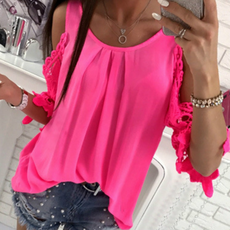 Women Summer Chiffon Blouses 18 New Casual Sexy Sun-top Blusas Half Sleeve Lace Patchwork Shirts Off Shoulder Tops Solid GV381 2