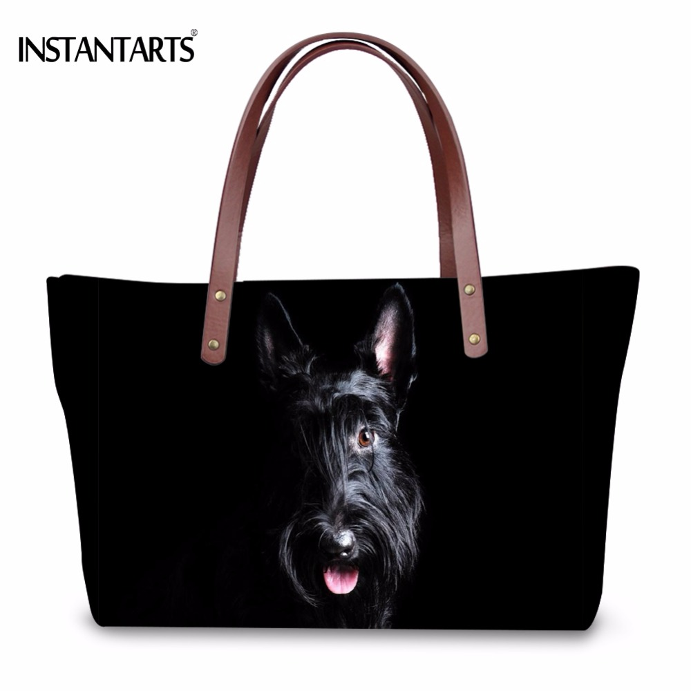 INSTANTARTS Cute 3D Animal Scottish Terrier Dog Print Women Large Handbags Fashion Beach Shoulder Bags Shopping Travel Tote bag<br>