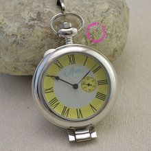 Classic Roman Dial Mechanical Skeleton Steel Mens silver Pocket Watch vintage retro ancient fashion Man fob watches glass yellow