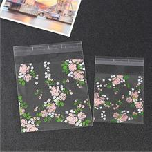 100pcs Plastic Cookie Packaging Bag Wedding Cookie Bags Rose Gift Bag Party Supplies Mini Soap Bag