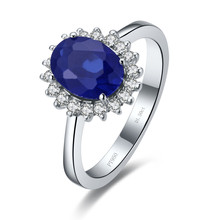 Wholesale Ring 1.5CT Synthetic Blue Diamonds Jewellery Engagement Ring Blue Gem stone Ring Oval  Jewelry Women Sterling Silver