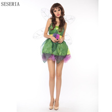 SESERIA 3 Pcs Woodland Green Gorgeous Fairy Princess Tinkerbell Dress Halloween Party Costume Medieval Costume