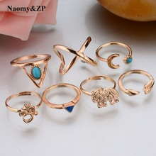 Naomy&ZP 7pcs/Set Flower Midi Ring Sets for Women Party Gold Silver Color Boho Beach Vintage Turkish Punk Elephant Knuckle Rings