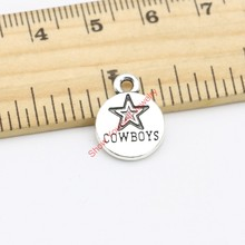20pcs Antique Silver Tone Star Cowboys Charms Pendants for Jewelry Making DIY Handmade Craft 16x12mm