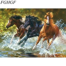 Running Horse Frameless Picture Painting By Numbers DIY Canvas Oil Painting Home Decoration Living Room Wall Art(China)