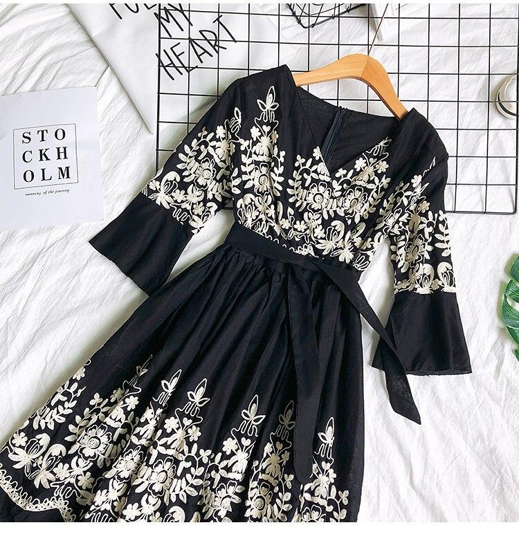 2019 Spring Summer V-neck Embroidery Dress Flare Sleeves Bohemian Dress Belted Ethnic Loose Vintage Dress 55