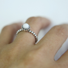 Elegant stone turquoises 925 Sterling Silver Rings Poetic Droplet Clear Finger Ring for Women Fashion Wedding Jewelry