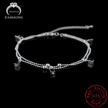 Ladies Foot Anklet 925 Sterling Silver Anklets Bracelet Double Layer Chain For Women Square Pendants Foot Pulseras Jewelry