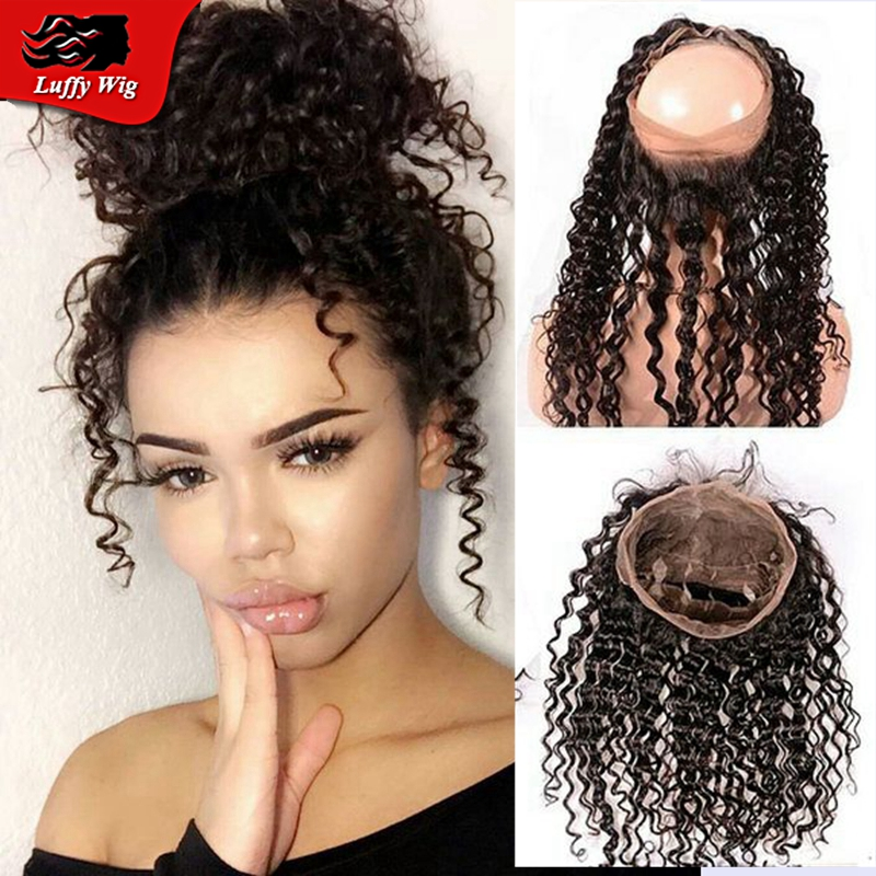 8A grde curly 360 lace frontal closure curly Brazilian virgin hair 360 lace frontal with baby hair 360 lace virgin hair frontal<br><br>Aliexpress