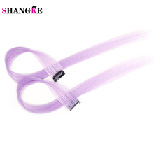 SHANGKE Purple Hair High Temperature Synthetic Fiber Long Straight Punk Style Clip-on Hair Extensions Hair Clip(China)
