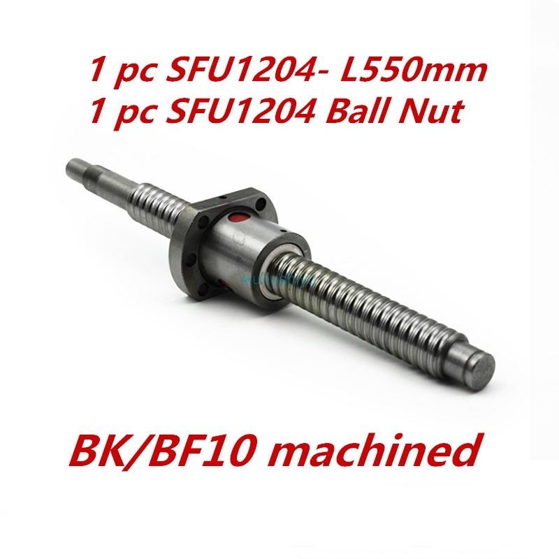 SFU1204 550mm long rolled ball screw C7 BK/BF10 end machined with 1204 single ball nut for CNC parts<br>