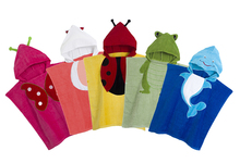 Retail-5 Colors Baby Hooded Poncho kids bath towel/Animal Modeling Swimming bathrobe/Children's Beach Towel(China)