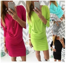 New 2017 SummerAutumn Dress Casual Vintage Sexy Slim Bodycon Dress Candy colors Elegance Base Dress Women Party Dresses Vestidos