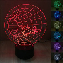 3D Optical Visual Night Light Time Machine Plane Lamp for Kids Bedside Lampe 7 Colors Changing Holiday Mood light wit USB Cable(China)