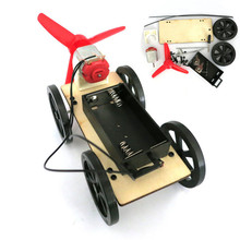 Mini Wind Powered Toy DIY Car Kit Children Educational Gadget Hobby Funny(China)