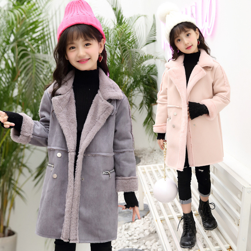 Girls Winter Clothes 2017 Children Long Thick Warm Faux Fur Jacket CoatsÎäåæäà è àêñåññóàðû<br><br>