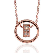 Women kolye Crystal Chain Rhinestone Necklace Love Heart jewellery Pendant Rose Gold Full jewelry heart necklace ornamentation#5(China)