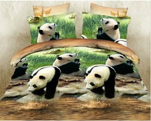Home Textiles 3D Bedclothes Lovely Panda 4PCS Bedding Set  King Or Queen