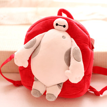 Candice guo! cute cartoon plush toy movie big hero 6 Baymax doll backpack bag children schoolbag birthday gift 1pc