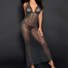 Buy 2018 Sexy Women Sheath See Long Dress Deep V-Neck Halter Skinny Voile Mesh Backless Vestidos Bodycon Party Club Wear