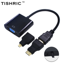 For PC HDTV Display Projector 1080P 3in1 for HDMI to VGA Cable Converter Adapter Audio +MINI for HDMI Micro for HDMI connector(China)