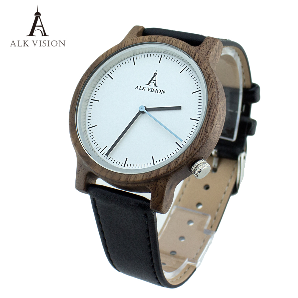 ALK Vision Walnut Wristwatch Unisex Wood watch Fashion genuine leather band Men watches Ladies clock<br>