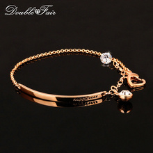 Double Fair OL Style AAA+ Cubic Zirconia Fashion Charm Bracelets & Bangles Rose Gold Color Hand Chain Jewelry For Women DFH195
