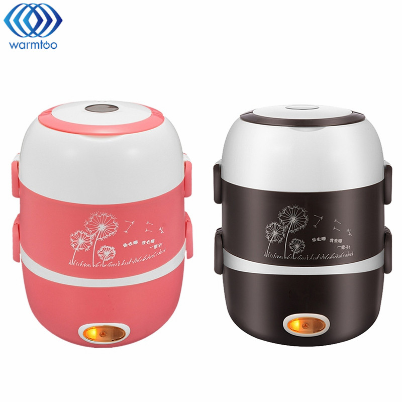 3 Layer Electric Rice Cooker 2L Heating Lunch Box Stainless Steel Liner Portable Steamer Food Container Thermal Box 200W 220V<br>