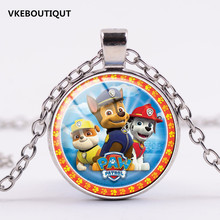 2017 New Glass Pendant Necklace 3/Color Fashion Dog Paw Patrol Kids Boys Birthday Gift Cartoon Pendant Jewelry(China)