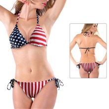 Buy 2017 Triangle Halter Summer Sexy Women Stars Stripes USA Flag Bikini Padded Bra Swimsuit America Flag Swimwear Backless Beach