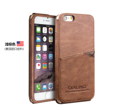 Qia Li High-end light brown Cowhide protective sleeve With card slot business Genuine leather design Case For iPhone6/6S case(China)