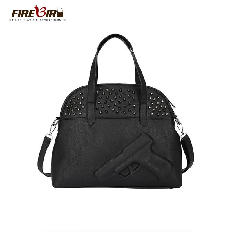 2017 3D Gun Bag Famous Brand Crossbody Bag For women Shoulder Bag Ladies Handbags Leather Rivet Messenger Bag Embossed Handbag 8<br><br>Aliexpress