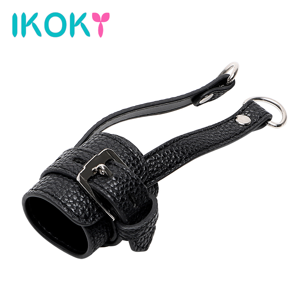 IKOKY Male Cock Ring PU Leather Scrotum Stretcher Sex Toys Men Male Chastity Devices Penis Ring Sex Products Cockring