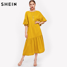 SHEIN Trumpet Sleeve Tiered Hem Long Dress Yellow Straight Fall Dresses 2017 Half Sleeve Round Neck Casual T-Shirt Dress(China)