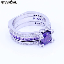 Vecalon Fashion Couple Engagement ring Purple 5A zircon Cz 925 Sterling Silver Birthstone wedding Band ring Set for women men(China)