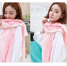 The new Korean fashion voile scarf sunscreen Women small floral scarves BIG SIZE 180*90cm(China)