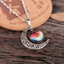 LNRRABC Star Sailor Moon Necklace Pendant Crescent Hollow Long Silver Chain Link Pendants Galactic Glass Sweater Necklace