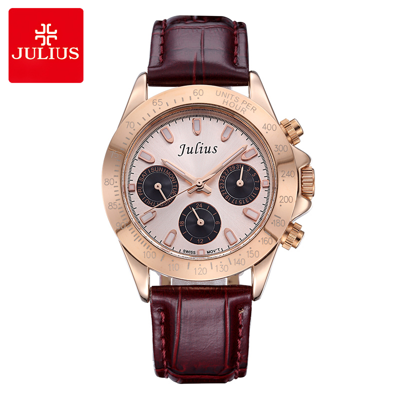 Real Multi-functions Julius Lady Womens Watch Sport Fashion Hours Auto Date Leather School Girl Birthday Valentine Gift  <br>