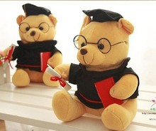20cm=8inch plush stuffed mini graduation teddy bear doctor bear student college graduation gift 1pc(China)