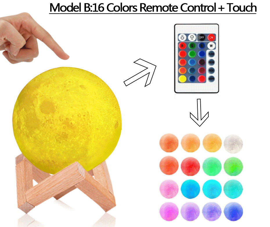 3D Full Moon Lamp Led Night Light USB Rechargeable 3D Print Moon Lamp Touch 2 Color Change / 16 Colors Lampara Luna Lamp Moon 4