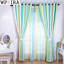 Fancy Living Room Curtains Modern Style Fashion Design Jacquard Striped Curtain Tulle Fabric Bedroom Window S140&20