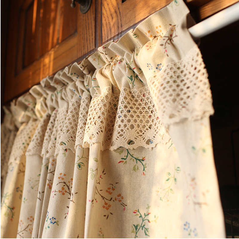Free shipping Cotton and linen Grass flower coffee curtain kitchen curtains for living room bedroom green yellow customized